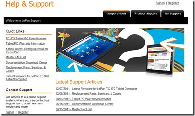 Then click the 'Latest Firmware for LePan TC 970 Tablet Computer'